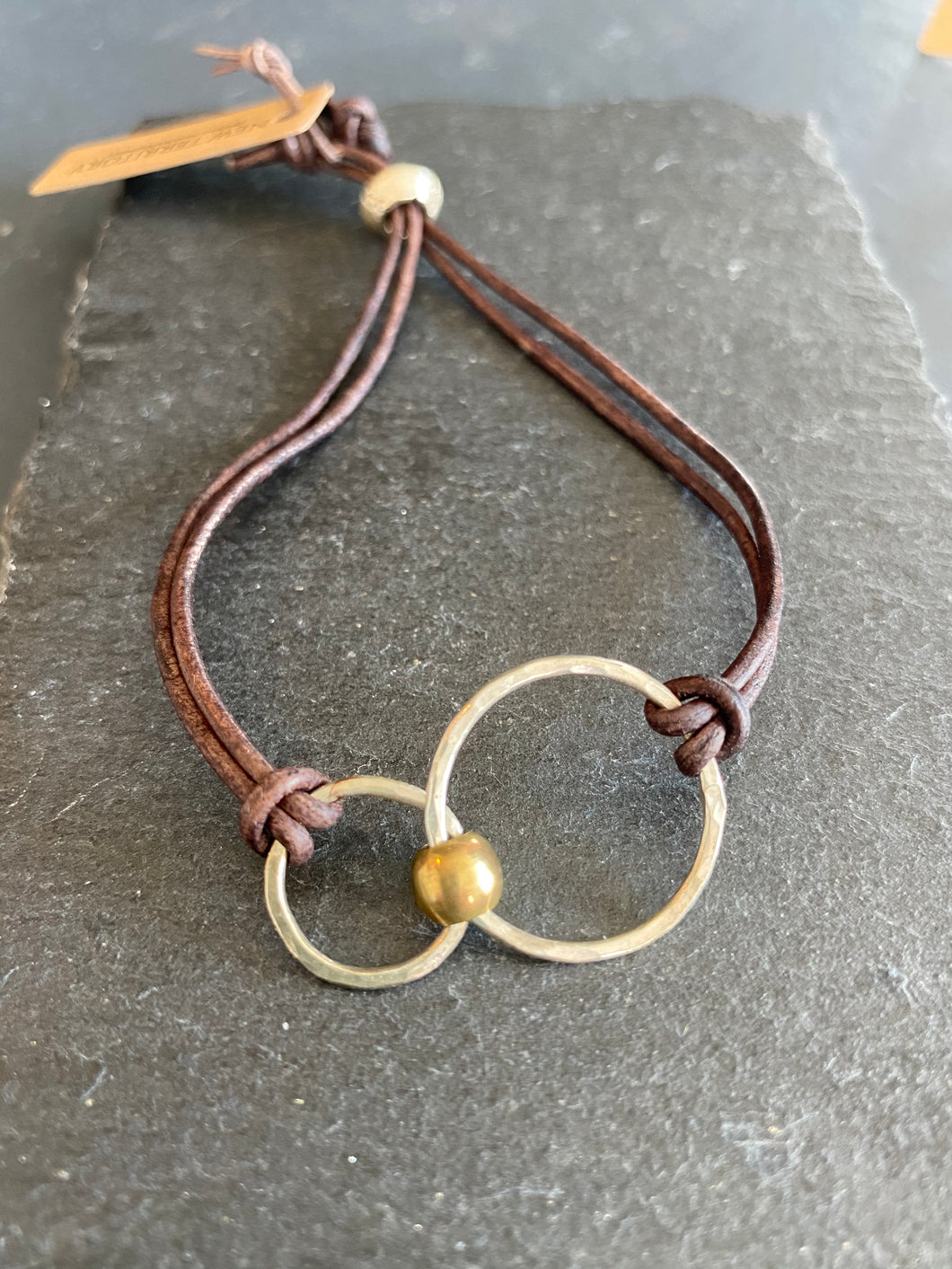 Handmade Silver Double Circles Bracelet on Leather Strap, Hand Hammered, Adjustable