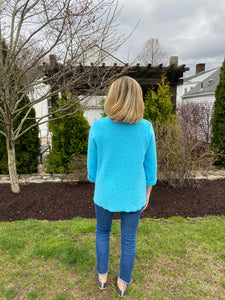 One Size Cotton Sweater - Aqua