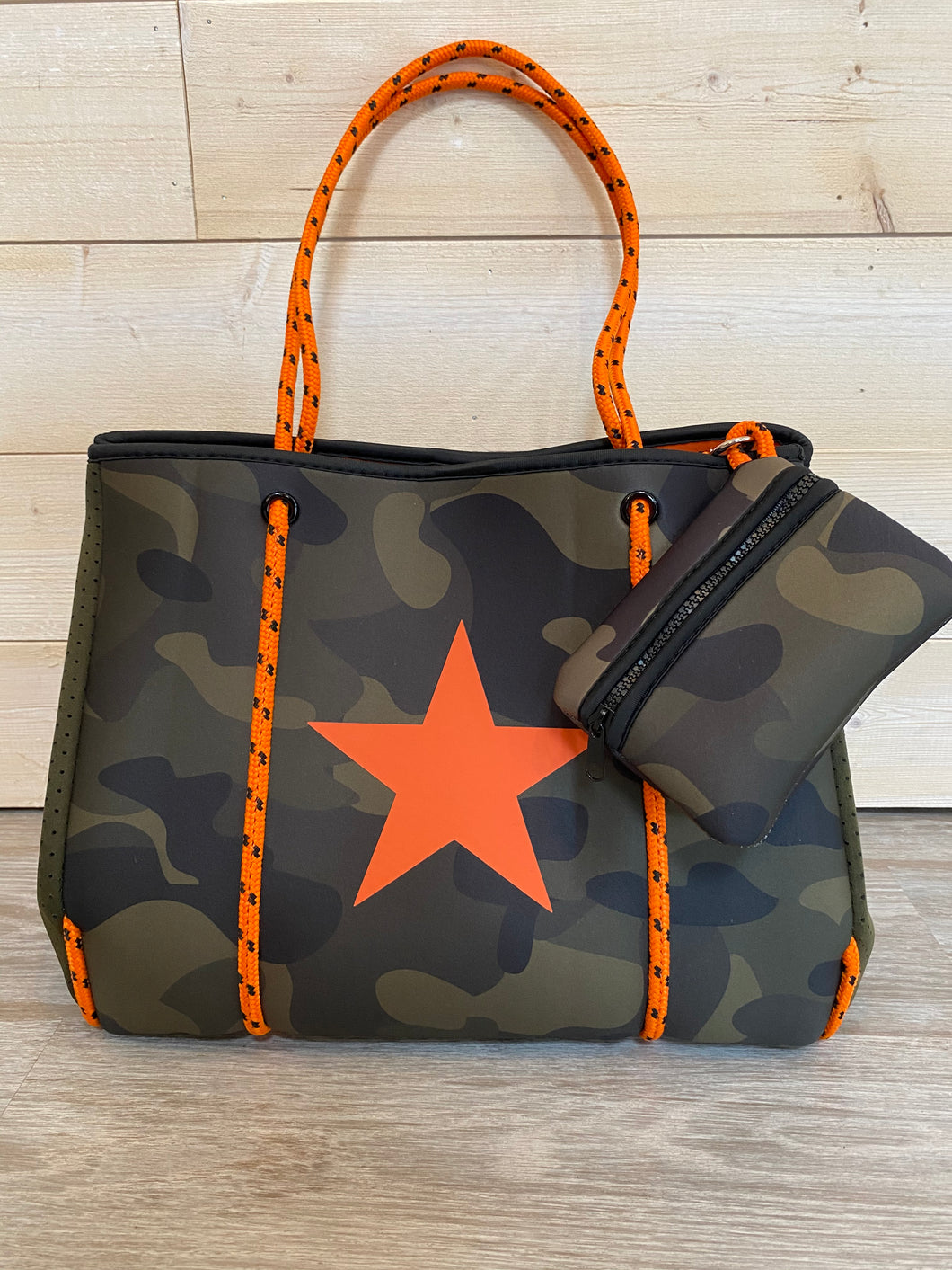 Army Camo Neoprene Tote w/Orange Ropes & Star