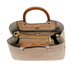Vintage Satchel with Wood Handle- Multiple Colors