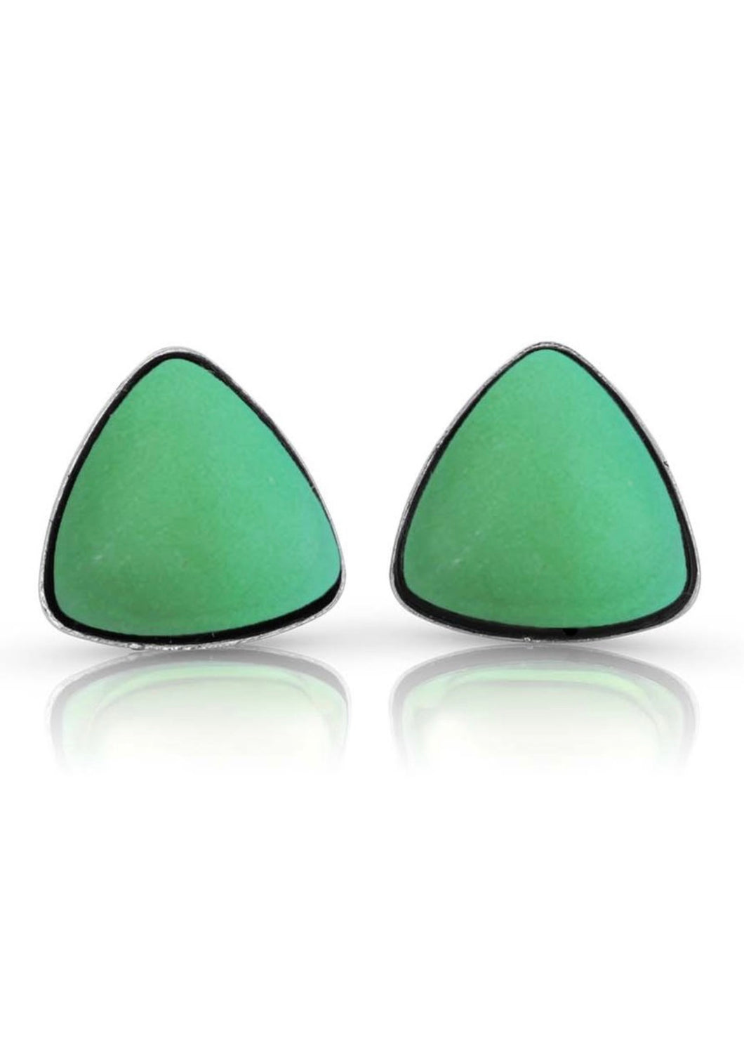 Artisan Made Crystal Triangle Stud Earring - Green