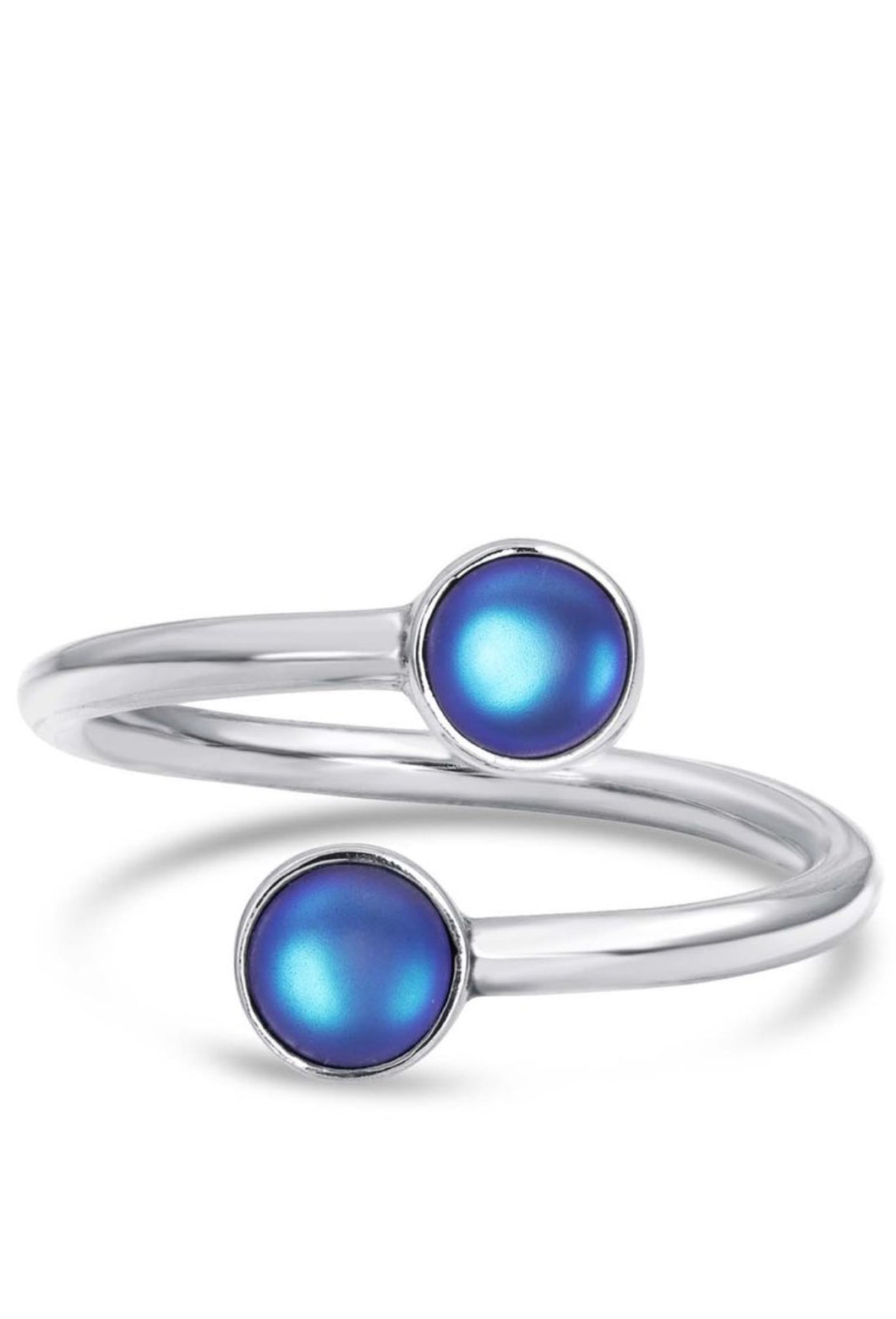 Hand-crafted Sterling Silver Double Ring - Blue