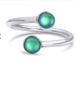 Hand-crafted Sterling Silver Double Ring - Green