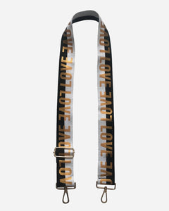 Black/White/Gold LOVE Bag Strap with Gold Hardware