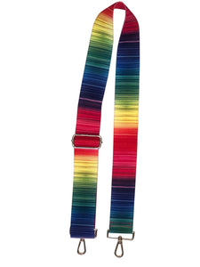 Variegated Rainbow Stripe Web Strap with Gold Hardware