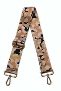 Blush Leopard Bag Strap with Gold Hardware