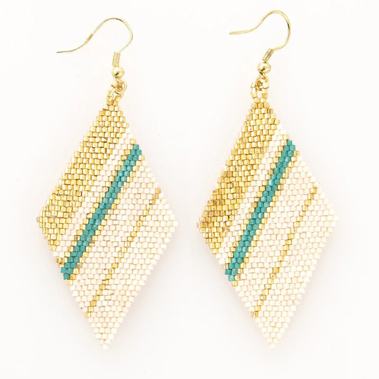 Teal, Gold Ivory Diamond Stripe Earring 3.5