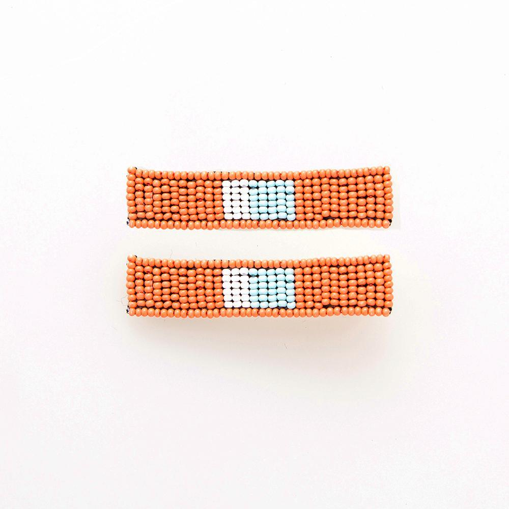 Beaded Hair Clip Set - Coral