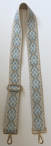 Embroidered Blue/Beige/White Medallion Bag Strap with Gold Hardware