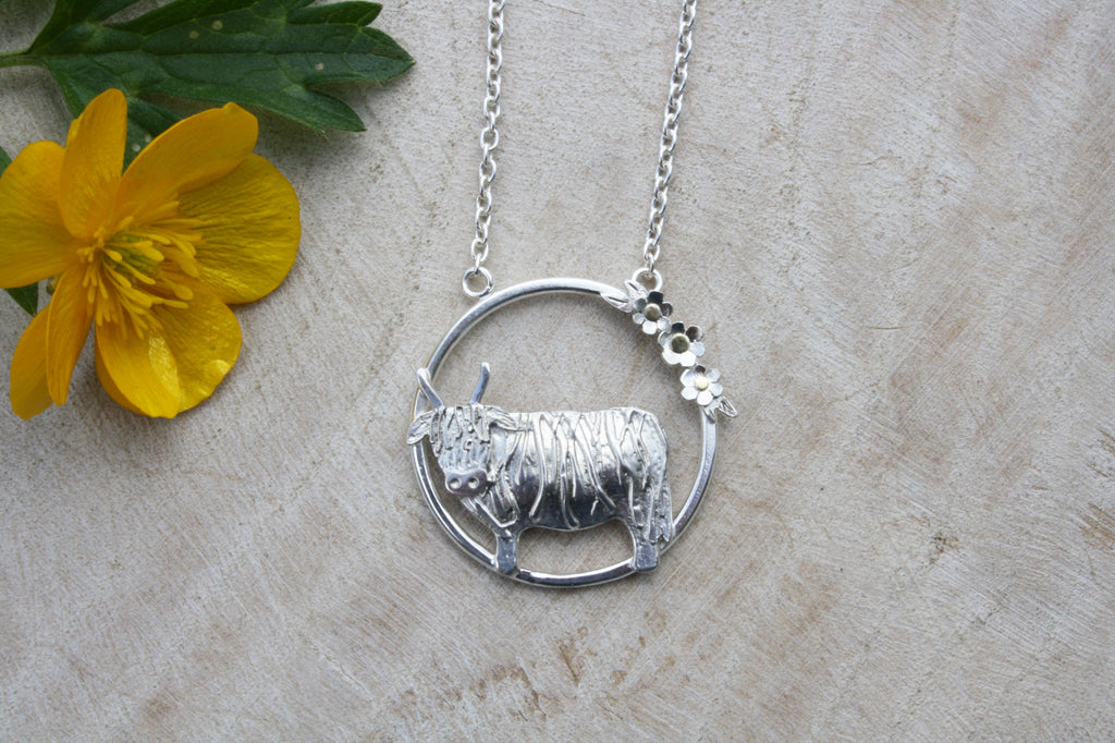 Highland Cow Ring Necklace