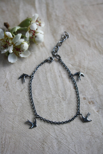 Large Swallow Bracelet - Oxidised