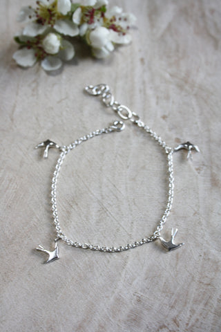 Large Swallow Bracelet - Silver