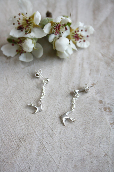 Swallow drop earrings - silver