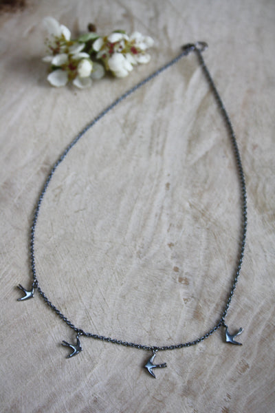 Large Swallow Necklace - Oxidised