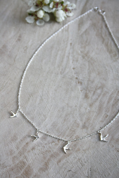 Large Swallow Necklace - Silver