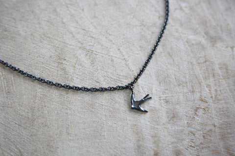 Swallow necklace - Oxidised