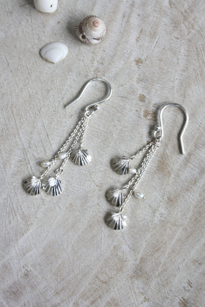 Clam Shell Drop Earrings