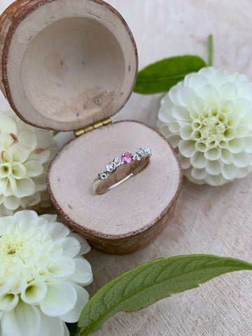 Silver Tourmaline Flower Stone Garland Ring