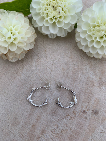 Flower Garland Hoops (silver)