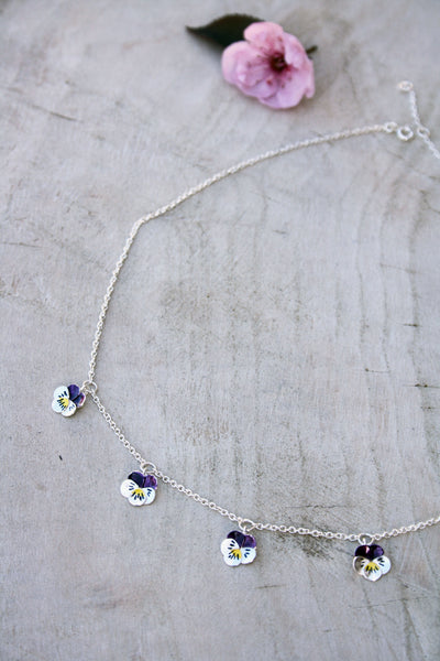 Five Pansy Necklace