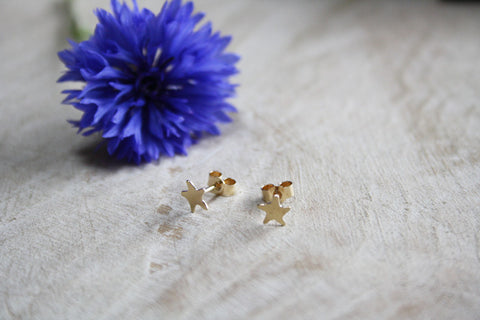 9ct Gold Star Studs