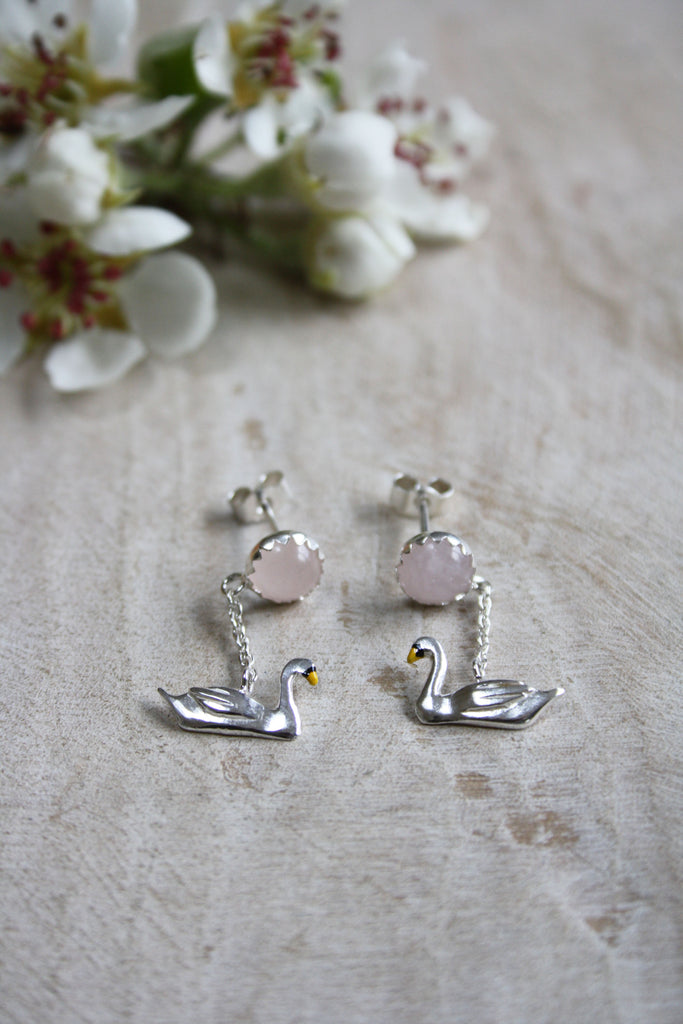 Swan Drop Earrings
