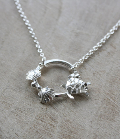 Turtle and Shell Ring Necklace
