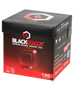 BLACK COCO`s 1kg Premium Kokosnuss, 26mm Naturkohle, BOX