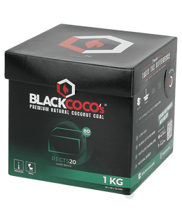 BLACK COCO`s 1kg RECTS20 Kokosnuss, 26mm Naturkohle, BOX