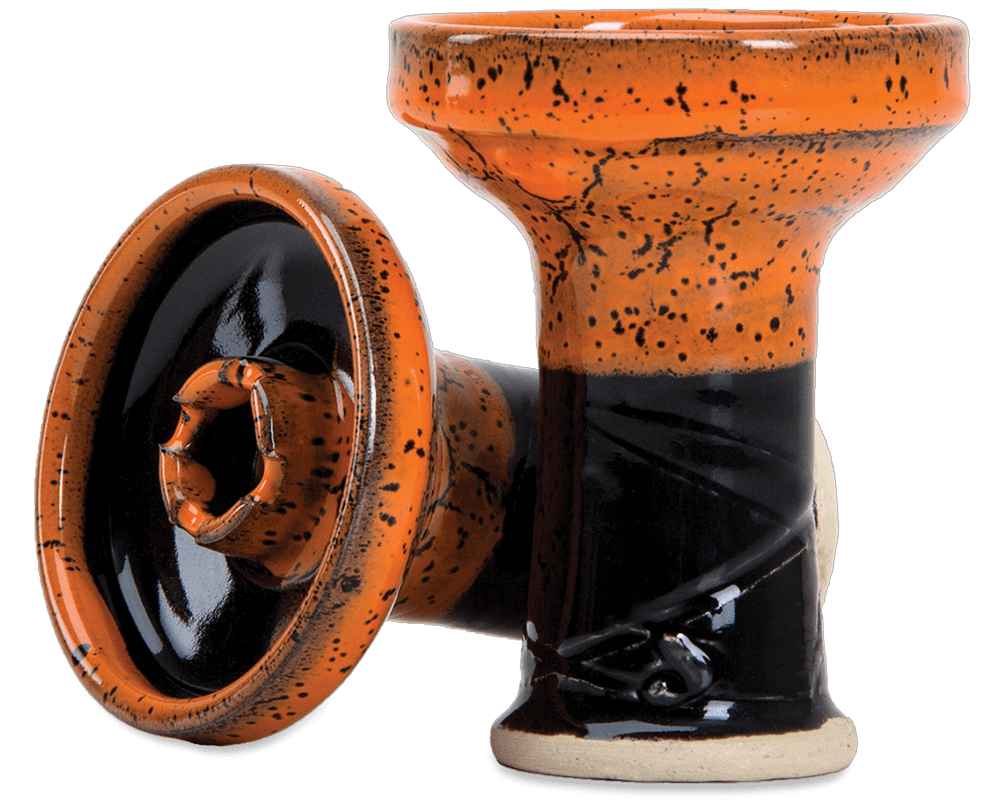 FUMARI ROOK BOWL Phunnel Glazed von ALPACA Manufacture - Orange/Schwarz - HOOKAH BLACK
