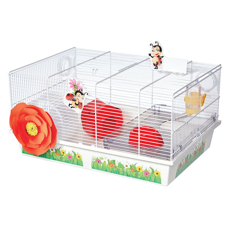 "Midwest Critterville Ladybug Hamster Home White, Red 19.5"" x 13.8"" x 9.8"" - ViTaiLity Pet Supply"