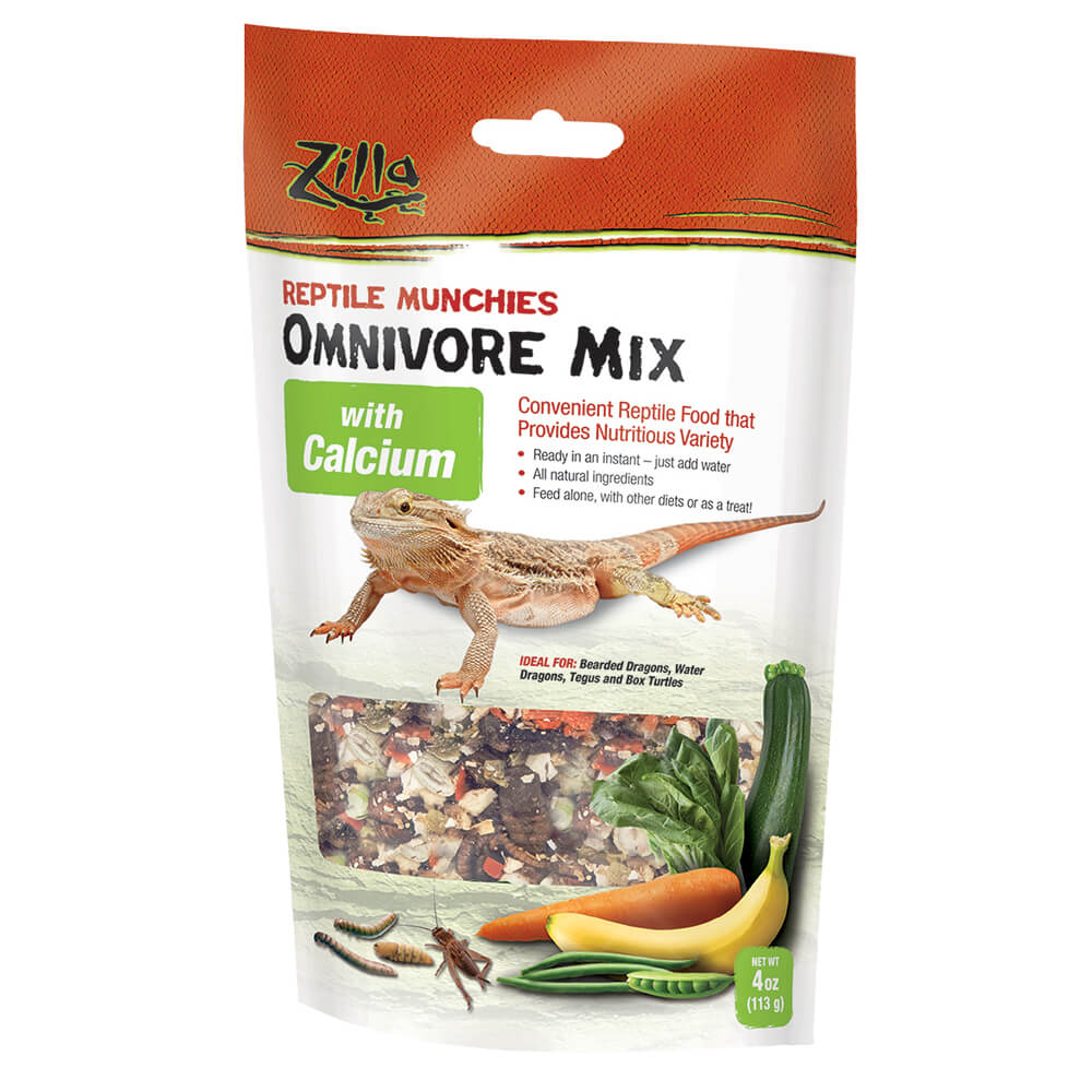 "Zilla Reptile Munchies Omnivore with Calcium 4 ounces 5.875"" x 2.75"" x 9.5"" - ViTaiLity Pet Supply"