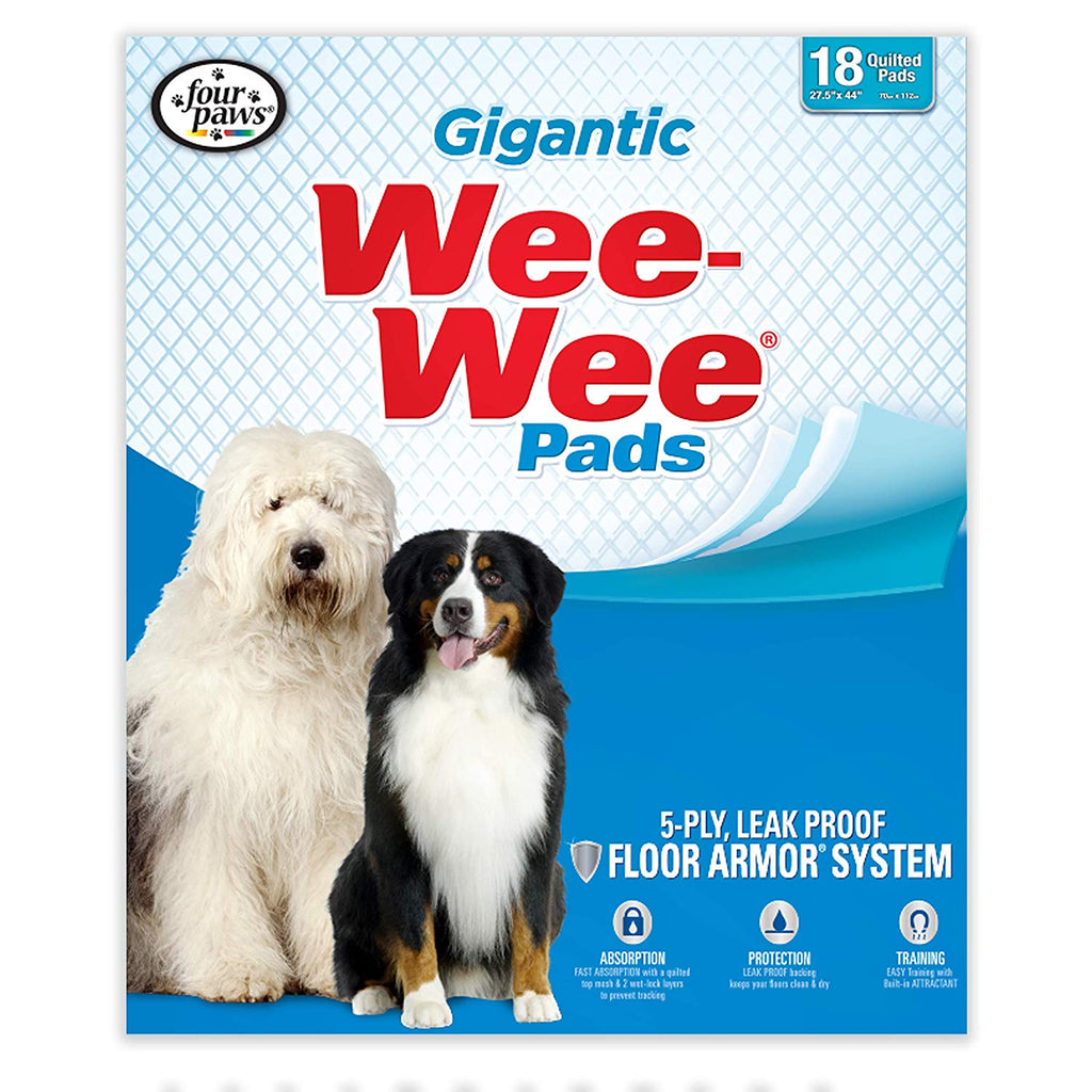"Four Paws Wee-Wee Pads 18 pack Gigantic White 27.5"" x 44"" x 0.1"" - ViTaiLity Pet Supply"