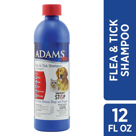 Adams Plus Flea and Tick Shampoo with Precor for Cats and Dogs 12 ounces - ViTaiLity Pet Supply