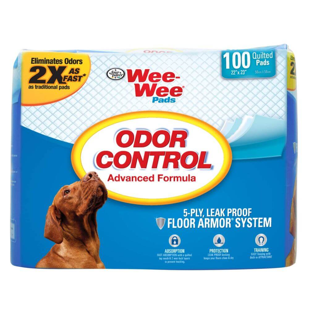 "Four Paws Wee-Wee Odor Control Pads 100 count White 22"" x 23"" x 0.1"" - ViTaiLity Pet Supply"