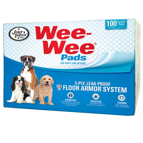 "Four Paws Wee-Wee Pads 100 pack White 22"" x 23"" x 0.1"" - ViTaiLity Pet Supply"