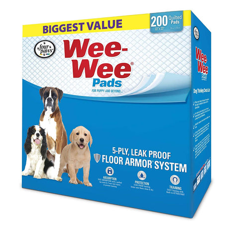 "Four Paws Wee-Wee Pads 200 pack White 22"" x 23"" x 0.1"" - ViTaiLity Pet Supply"