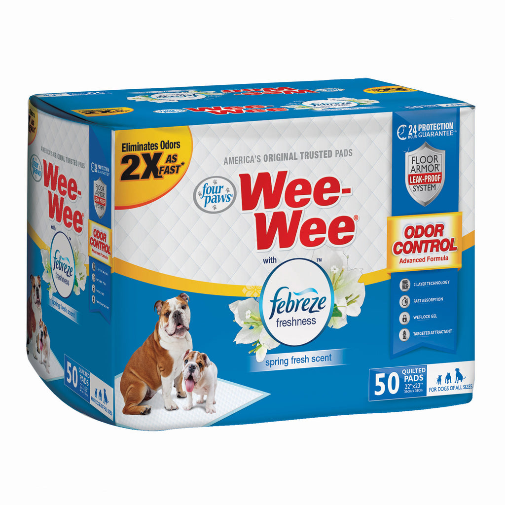 "Four Paws Wee-Wee Odor Control with Febreze Freshness Pads 50 count White 22"" x 23"" x 0.1"" - ViTaiLity Pet Supply"