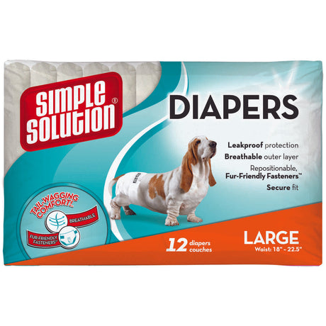 Simple Solution Disposable Dog Diapers 12 pack Large White - ViTaiLity Pet Supply