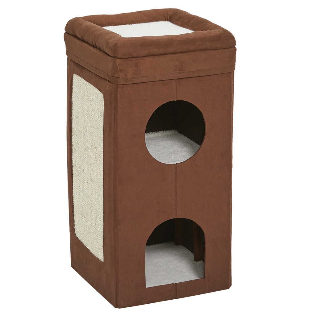 "Midwest Curious Cat Cube Condo Brown Suede 14.60"" x 14.72"" x 30.39"" - ViTaiLity Pet Supply"