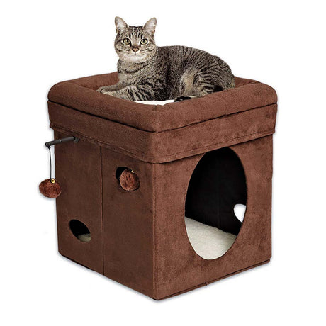 "Midwest Curious Cat Cube Brown 15.125"" x 15.125"" x 16.5"" - ViTaiLity Pet Supply"