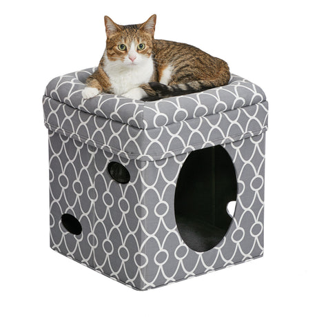 "Midwest Curious Cat Cube Gray 15.13"" x 15.13"" x 16.50"" - ViTaiLity Pet Supply"