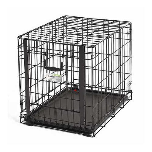"Midwest Ovation Single Door Crate with Up and Away Door Black 25.50"" x 17.50"" x 19.50"" - ViTaiLity Pet Supply"