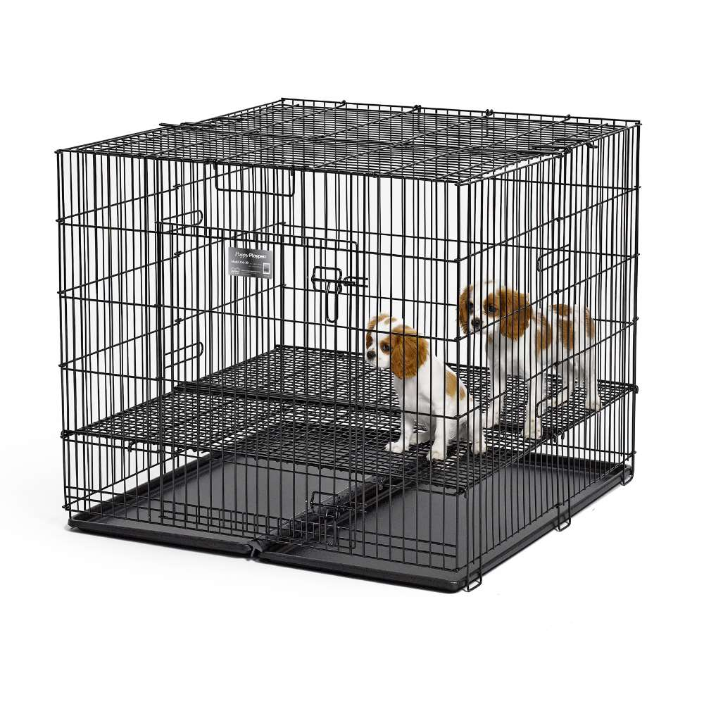 "Midwest Puppy Playpen with Plastic Pan and 1"" Floor Grid Black 36"" x 36"" x 30"" - ViTaiLity Pet Supply"