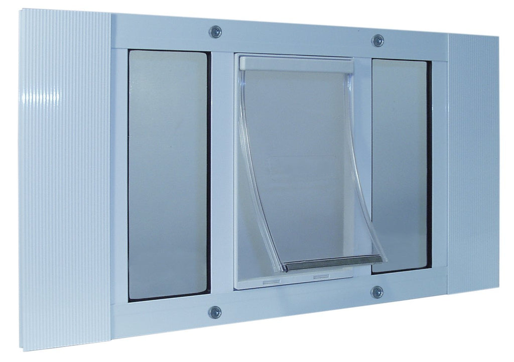"Ideal Pet Products Aluminum Sash Cat Flap Pet Door Small White 1.25"" x 23"" x 12.38"" - ViTaiLity Pet Supply"