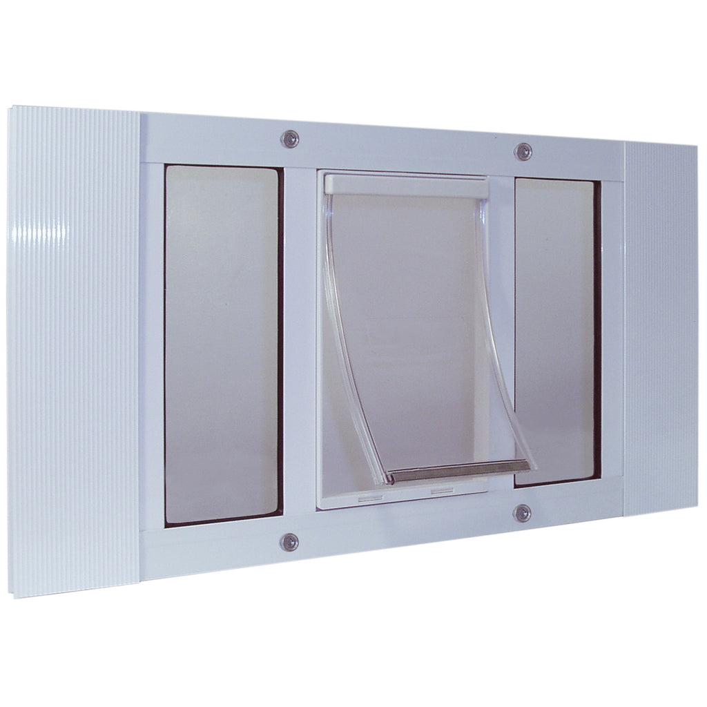 "Ideal Pet Products Aluminum Sash Pet Door Medium White 1.75"" x 23"" x 17.88"" - ViTaiLity Pet Supply"