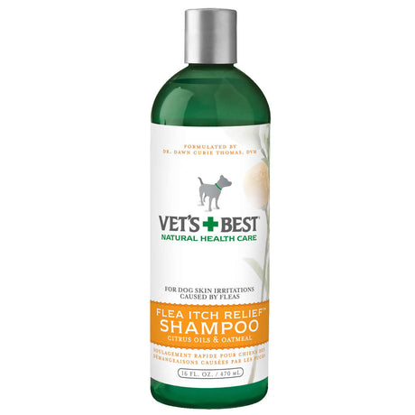 "Vet's Best Flea Itch Relief Dog Shampoo 16oz Green 2.45"" x 2.45"" x 8"" - ViTaiLity Pet Supply"