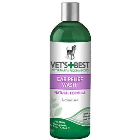 "Vet's Best Dog Ear Relief Wash 16oz Green 2.5"" x 2.5"" x 8.5"" - ViTaiLity Pet Supply"