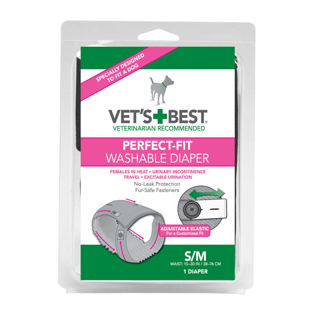 "Vet's Best Perfect-Fit Washable Female Dog Diaper 1 pack Small / Medium Gray 5.44"" x 1.75"" x 7.75"" - ViTaiLity Pet Supply"
