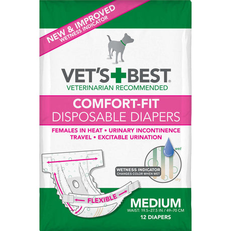 "Vet's Best Comfort-Fit Disposable Female Dog Diaper 12 pack Medium White 5.18"" x 4.75"" x 8.5"" - ViTaiLity Pet Supply"
